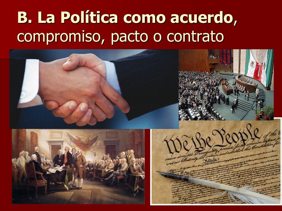 B. La Política como acuerdo, compromiso, pacto o contrato
