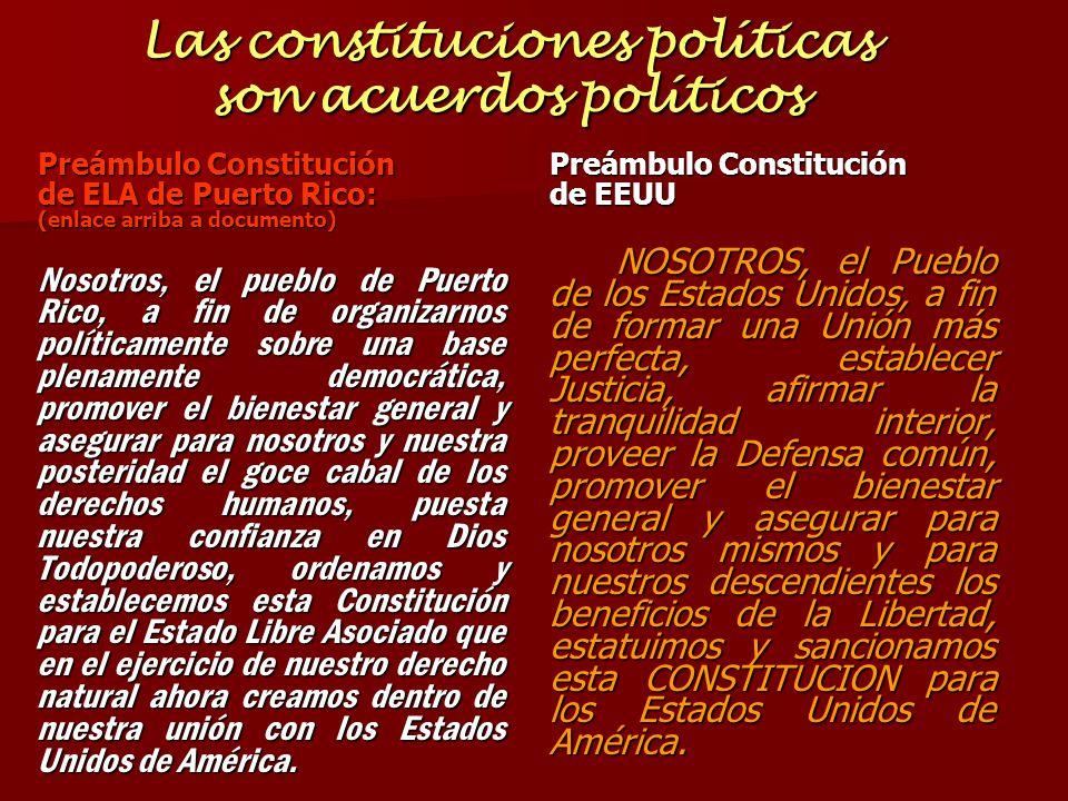 Las constituciones políticas son acuerdos políticos Preámbulo Constitución de ELA de Puerto Rico: (enlace arriba a documento) Nosotros, el pueblo de P