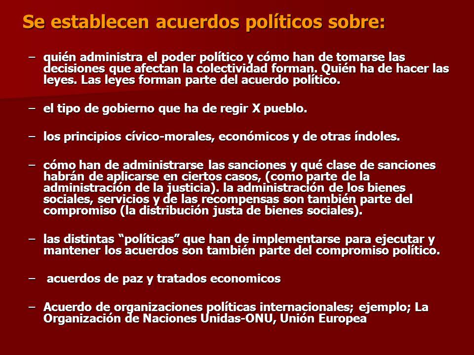 Se establecen acuerdos políticos sobre: –quién administra el poder político y cómo han de tomarse las decisiones que afectan la colectividad forman. Q
