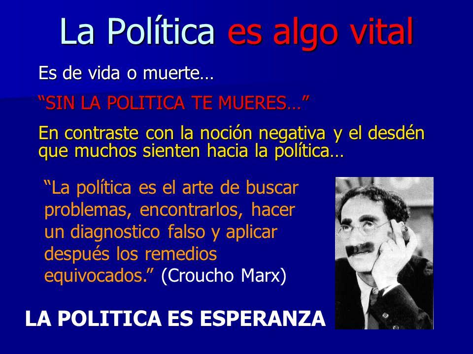 La Política es algo vital Es de vida o muerte… SIN LA POLITICA TE MUERES… En contraste con la noción negativa y el desdén que muchos sienten hacia la