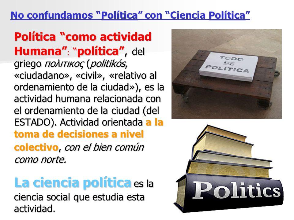 Política como actividad Humana : política, del griego πολιτικος (politikós, «ciudadano», «civil», «relativo al ordenamiento de la ciudad»), es la acti