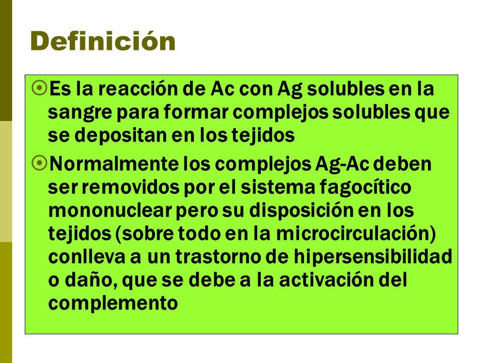 Definición Es la reacción de Ac con Ag solubles en la sangre para formar complejos solubles que se depositan en los tejidos Normalmente los complejos