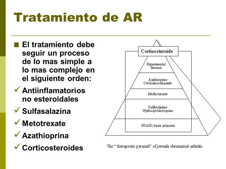 Tratamiento de AR El tratamiento debe seguir un proceso de lo mas simple a lo mas complejo en el siguiente orden: Antiinflamatorios no esteroidales Su