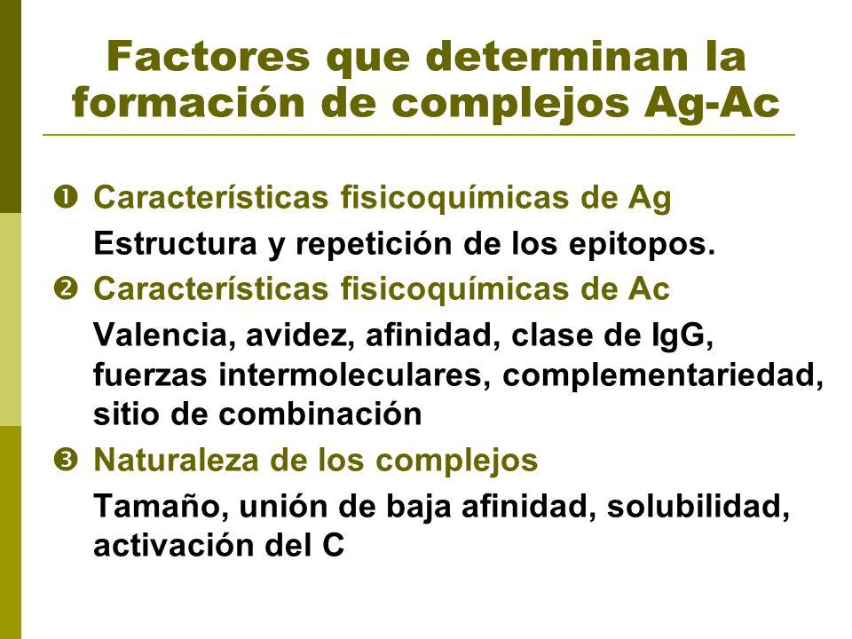 Factores que determinan la formación de complejos Ag-Ac Características fisicoquímicas de Ag Estructura y repetición de los epitopos. Características