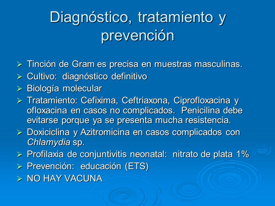 Diagnóstico, tratamiento y prevención Tinción de Gram es precisa en muestras masculinas. Tinción de Gram es precisa en muestras masculinas. Cultivo: d