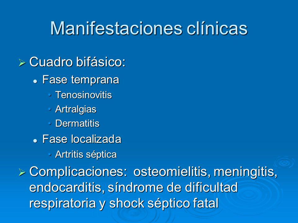 Manifestaciones clínicas Cuadro bifásico: Cuadro bifásico: Fase temprana Fase temprana TenosinovitisTenosinovitis ArtralgiasArtralgias DermatitisDerma
