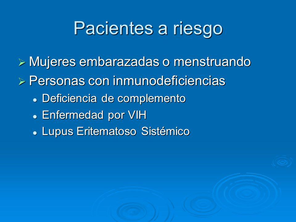 Pacientes a riesgo Mujeres embarazadas o menstruando Mujeres embarazadas o menstruando Personas con inmunodeficiencias Personas con inmunodeficiencias