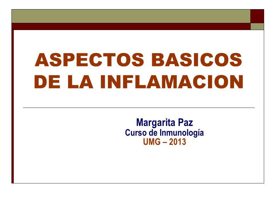 ASPECTOS BASICOS DE LA INFLAMACION Margarita Paz Curso de Inmunología UMG – 2013