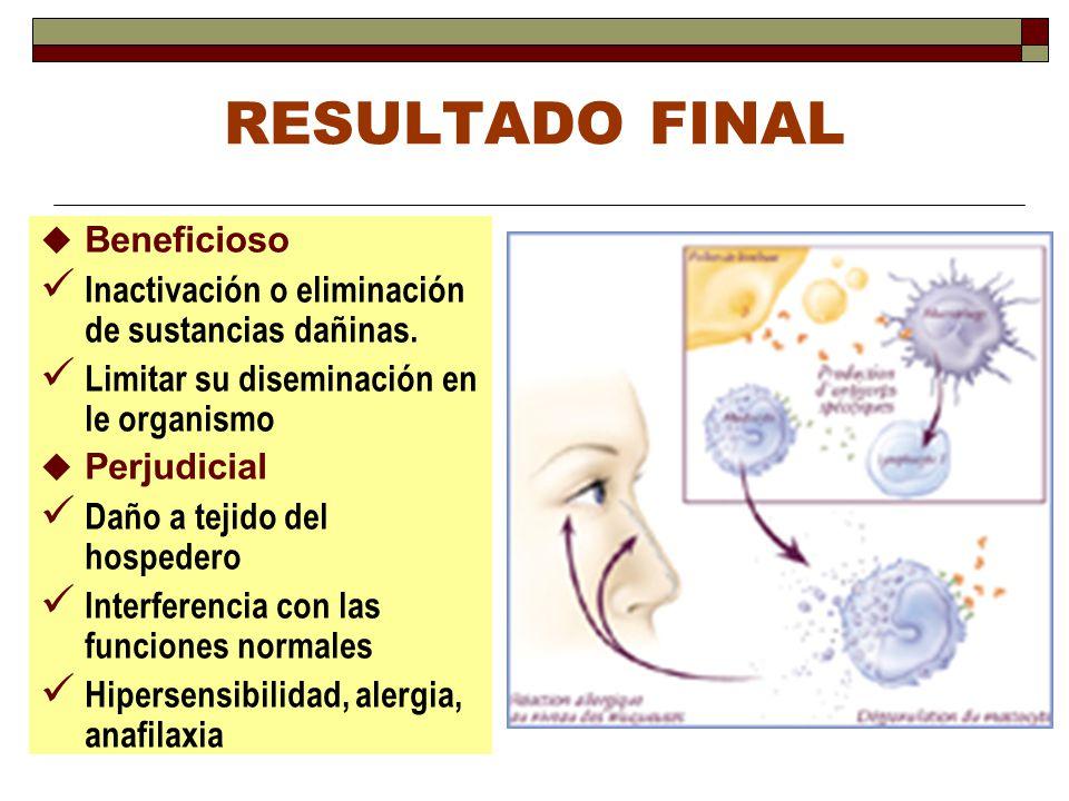 RESULTADO FINAL Beneficioso Inactivación o eliminación de sustancias dañinas. Limitar su diseminación en le organismo Perjudicial Daño a tejido del ho