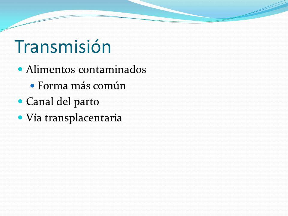 Transmisión Alimentos contaminados Forma más común Canal del parto Vía transplacentaria
