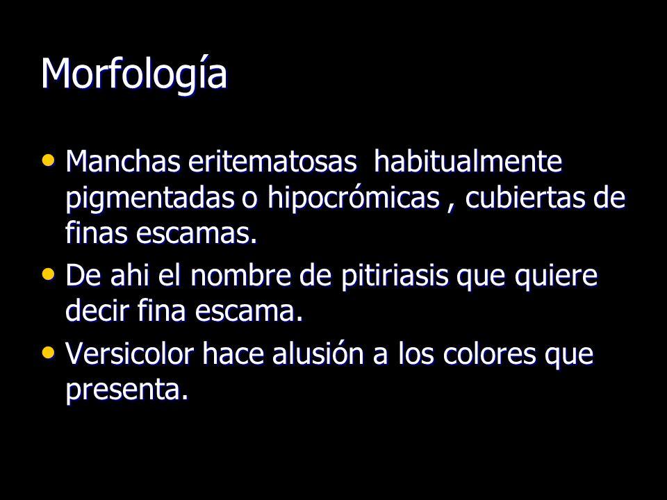 Morfología Manchas eritematosas habitualmente pigmentadas o hipocrómicas, cubiertas de finas escamas. Manchas eritematosas habitualmente pigmentadas o