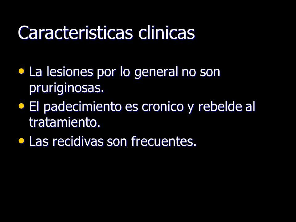 Caracteristicas clinicas La lesiones por lo general no son pruriginosas. La lesiones por lo general no son pruriginosas. El padecimiento es cronico y