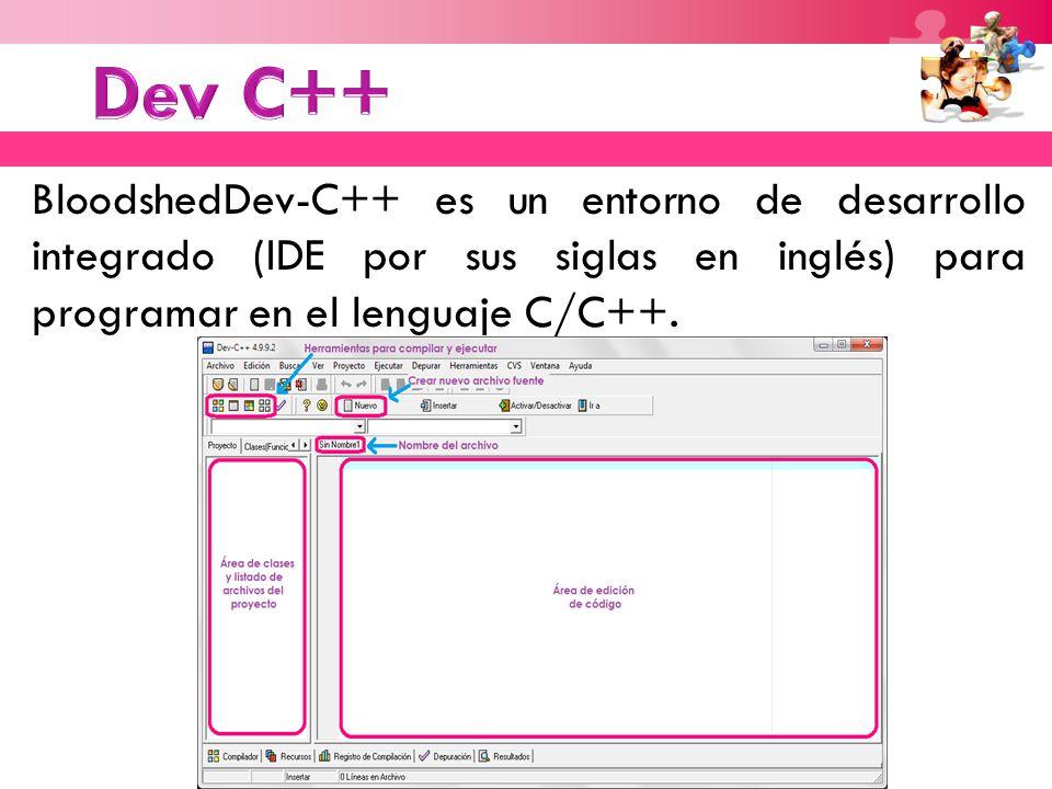BloodshedDev-C++ es un entorno de desarrollo integrado (IDE por sus siglas en inglés) para programar en el lenguaje C/C++.