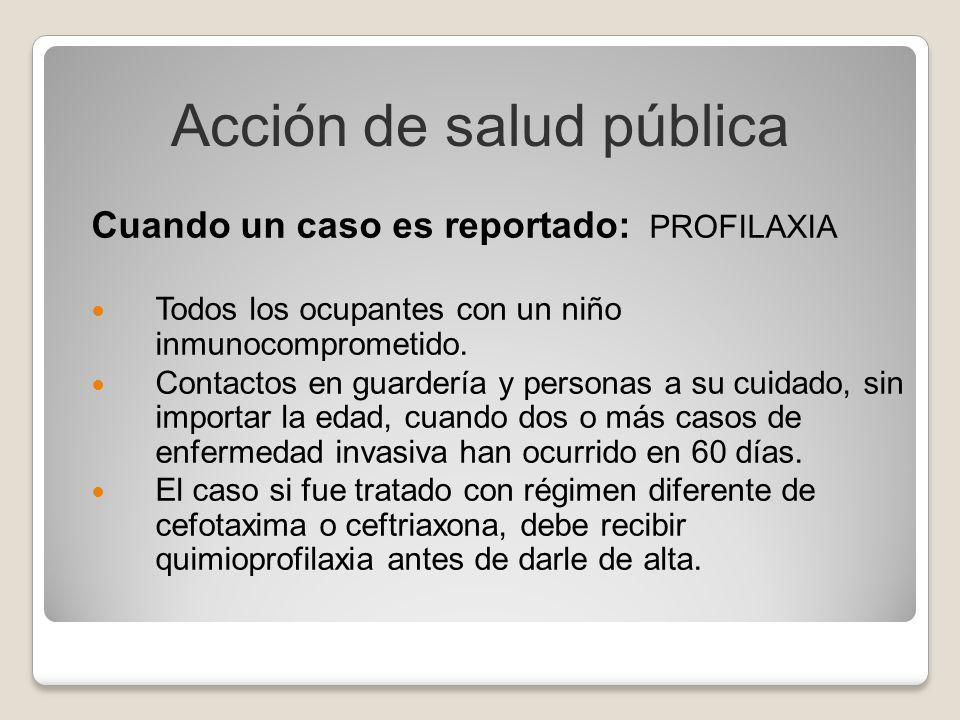 Cuando un caso es reportado: PROFILAXIA Todos los ocupantes con un niño inmunocomprometido. Contactos en guardería y personas a su cuidado, sin import