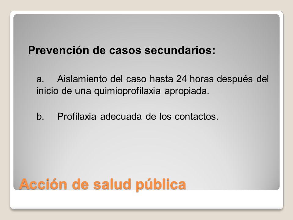 Acción de salud pública Prevención de casos secundarios: a. Aislamiento del caso hasta 24 horas después del inicio de una quimioprofilaxia apropiada.