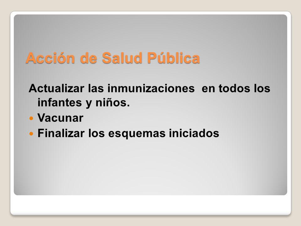 Acción de Salud Pública Actualizar las inmunizaciones en todos los infantes y niños. Vacunar Finalizar los esquemas iniciados