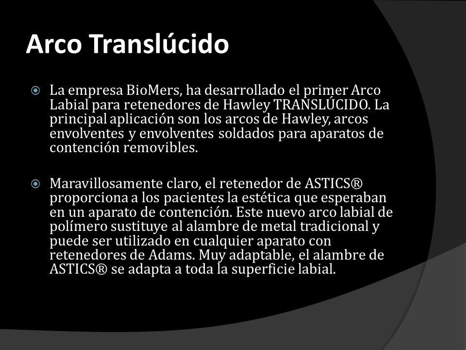 Arco Translúcido La empresa BioMers, ha desarrollado el primer Arco Labial para retenedores de Hawley TRANSLÚCIDO. La principal aplicación son los arc