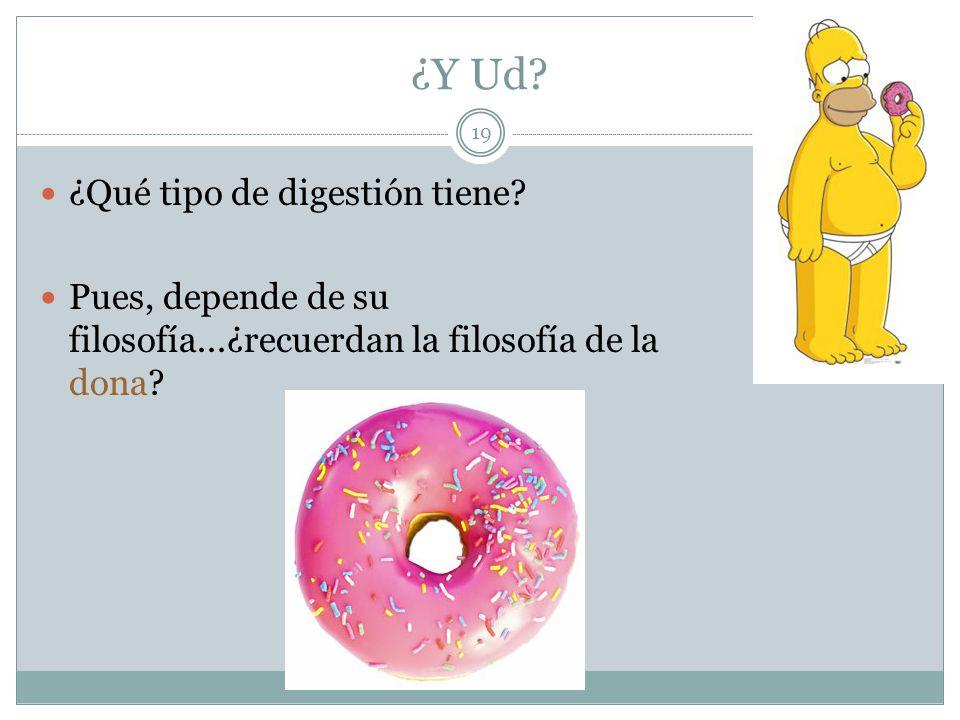 19 ¿Y Ud? ¿Qué tipo de digestión tiene? Pues, depende de su filosofía...¿recuerdan la filosofía de la dona?