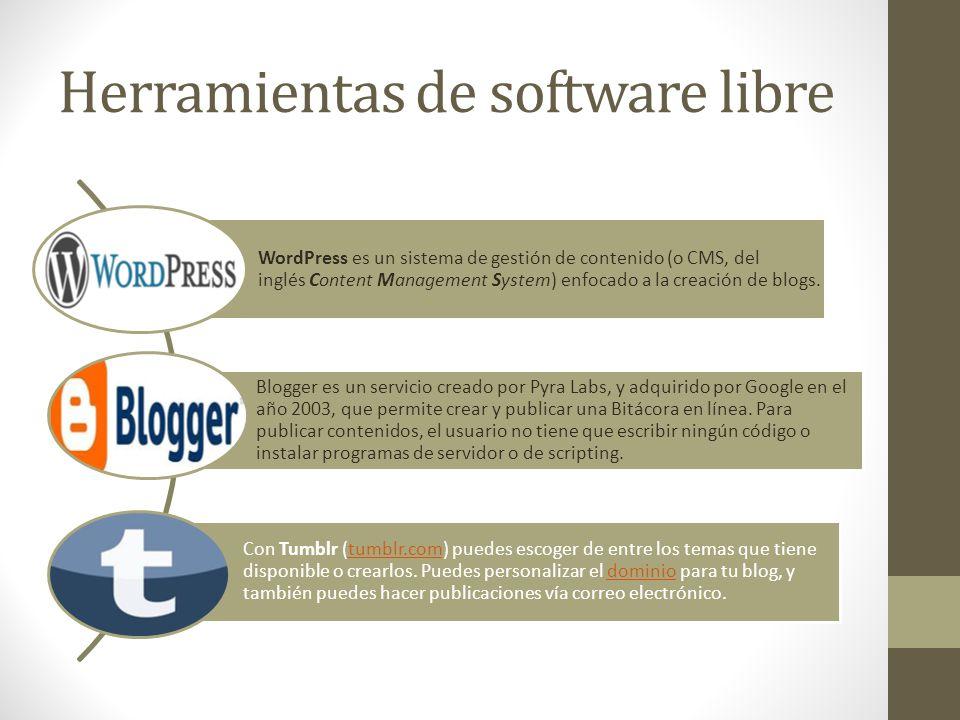 Herramientas de software libre WordPress es un sistema de gestión de contenido (o CMS, del inglés Content Management System) enfocado a la creación de
