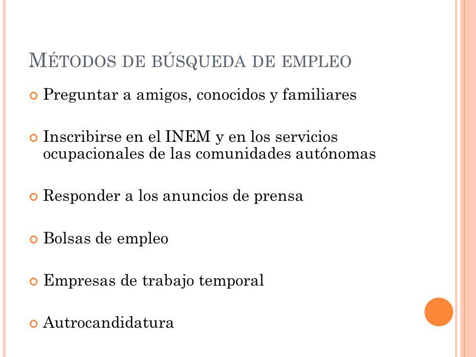 M ÉTODOS DE BÚSQUEDA DE EMPLEO Preguntar a amigos, conocidos y familiares Inscribirse en el INEM y en los servicios ocupacionales de las comunidades a