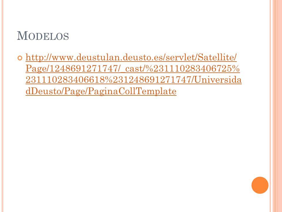 M ODELOS http://www.deustulan.deusto.es/servlet/Satellite/ Page/1248691271747/_cast/%231110283406725% 231110283406618%231248691271747/Universida dDeus