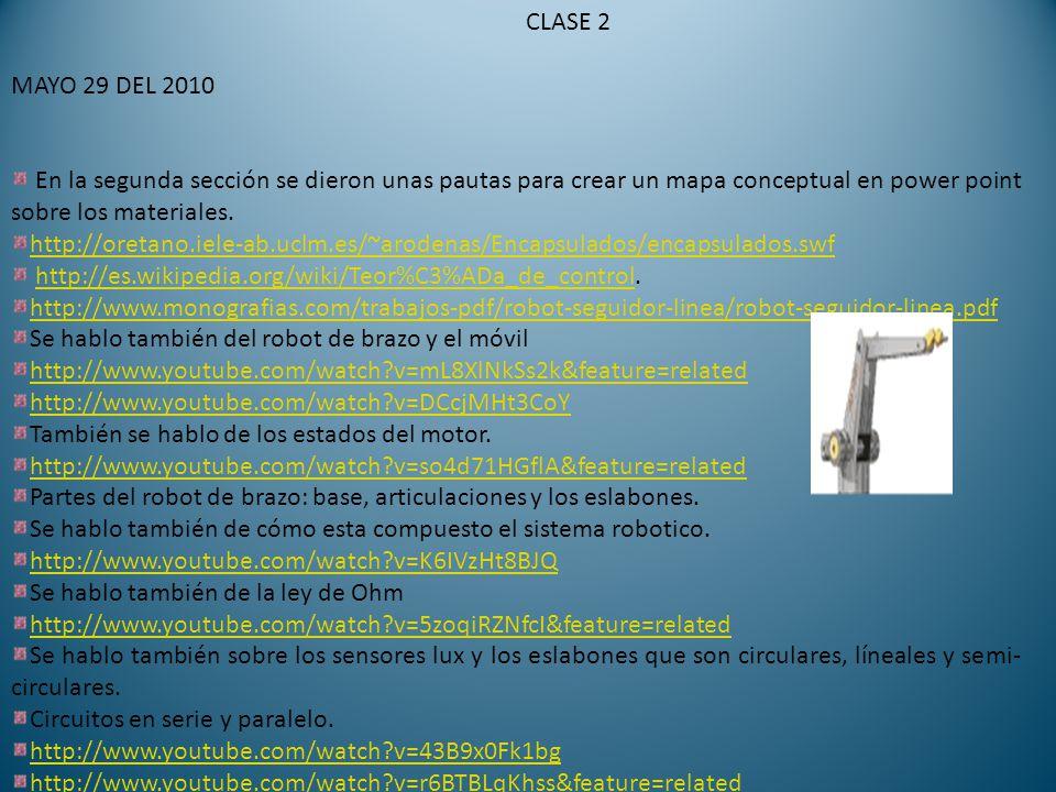 CLASE 2 MAYO 29 DEL 2010 En la segunda sección se dieron unas pautas para crear un mapa conceptual en power point sobre los materiales.