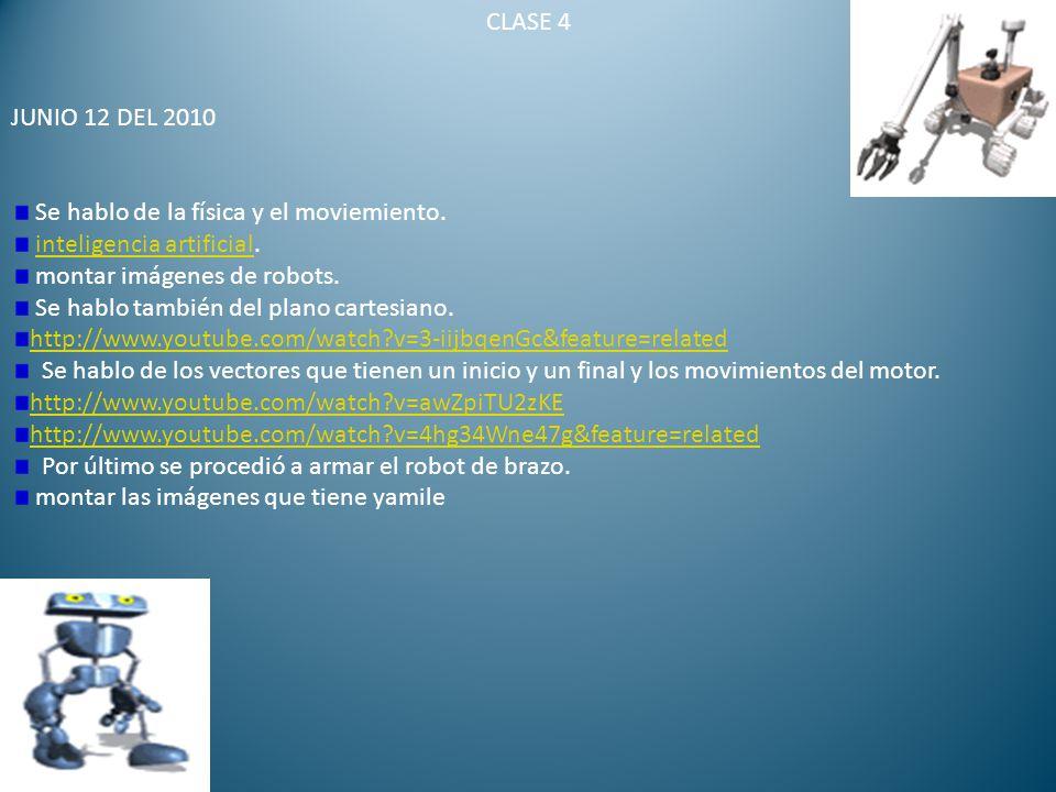 CLASE 4 JUNIO 12 DEL 2010 Se hablo de la física y el moviemiento.