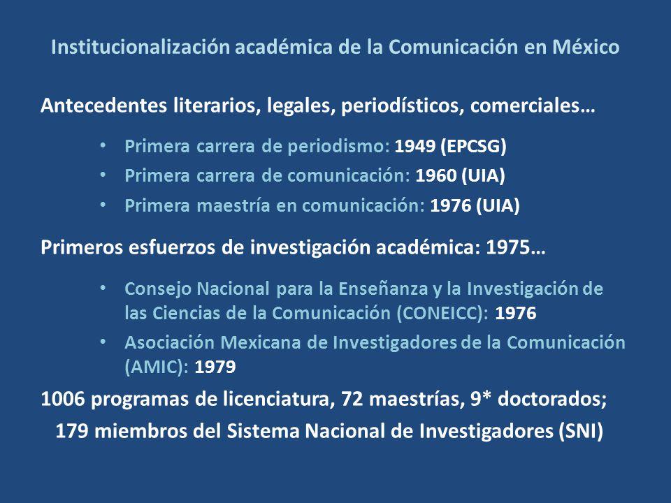 Institucionalización académica de la Comunicación en México Antecedentes literarios, legales, periodísticos, comerciales… Primera carrera de periodismo: 1949 (EPCSG) Primera carrera de comunicación: 1960 (UIA) Primera maestría en comunicación: 1976 (UIA) Primeros esfuerzos de investigación académica: 1975… Consejo Nacional para la Enseñanza y la Investigación de las Ciencias de la Comunicación (CONEICC): 1976 Asociación Mexicana de Investigadores de la Comunicación (AMIC): 1979 1006 programas de licenciatura, 72 maestrías, 9* doctorados; 179 miembros del Sistema Nacional de Investigadores (SNI)