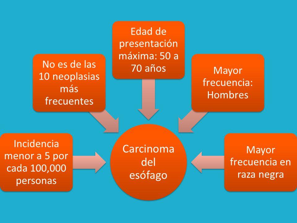 Factores de riesgo Consumo de alcohol Tabaquismo (x5) Deficiente estado nutricional Deficiencias de micronutrientes en el suelo Zinc, Molibdeno, Magnesio y Hierro Acumulación de nitratos y nitritos: Nitrosaminas Síndrome de Plummer-Vinson o Patterson-Kelly (Anemia) Enfermedad Celiaca (Síndrome de mala absorción)