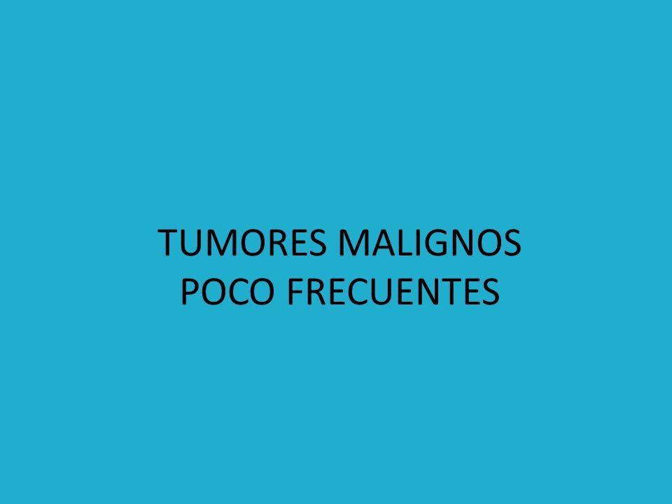 Células con gránulos característicos Son fungoides o polipodes con ulceraciones superficiales 1/3 medio y distal Metástasis a distancia Tx multimodal con radioquimioterapia, pocas veces cirugía CARCINOMA DE CÉLULAS PEQUEÑAS