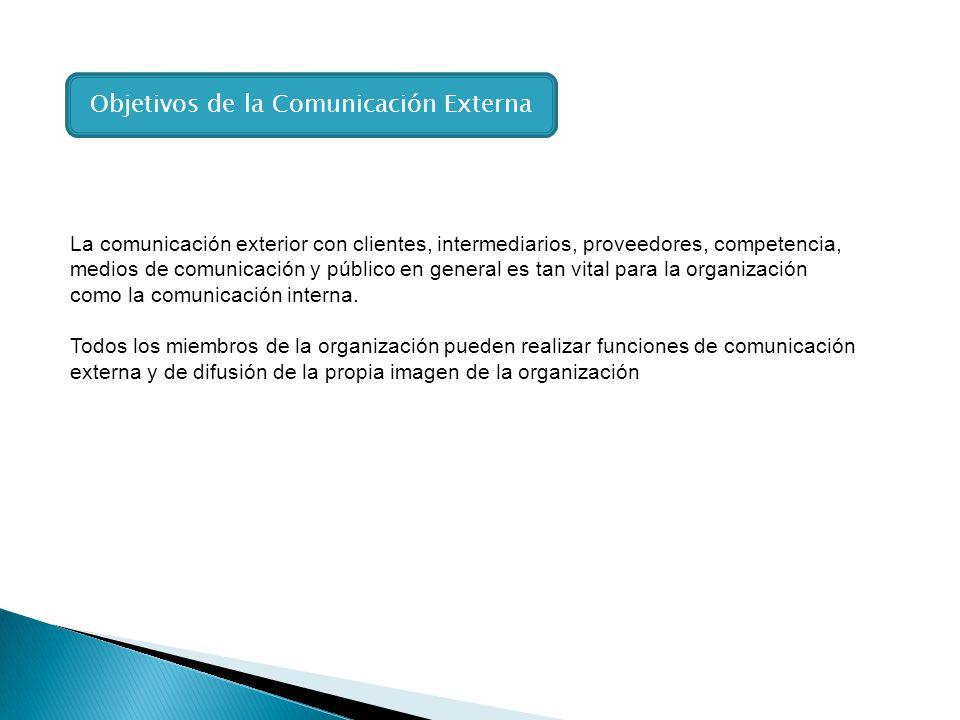 La comunicación exterior con clientes, intermediarios, proveedores, competencia, medios de comunicación y público en general es tan vital para la orga