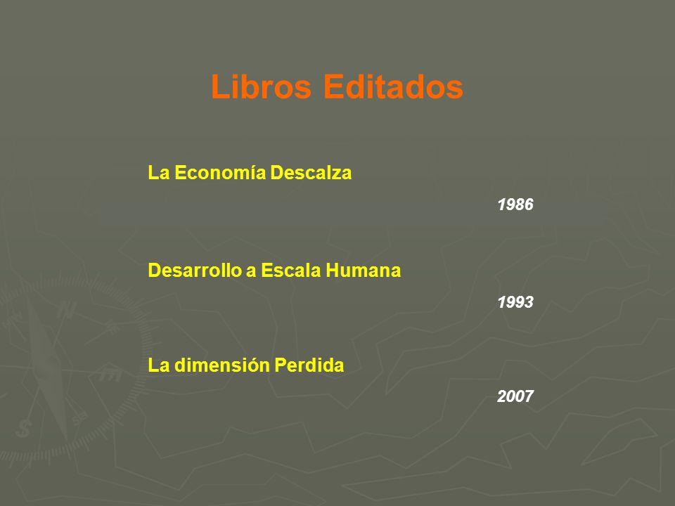 Libros Editados La Economía Descalza 1986 Desarrollo a Escala Humana 1993 La dimensión Perdida 2007
