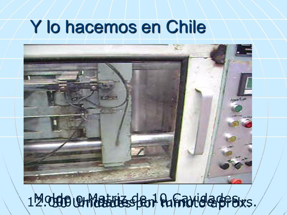 Y lo hacemos en Chile 12.000 Unidades en turno de 8 Hrs. 30 Unidades por minuto aprox. Molde o Matriz de 10 Cavidades