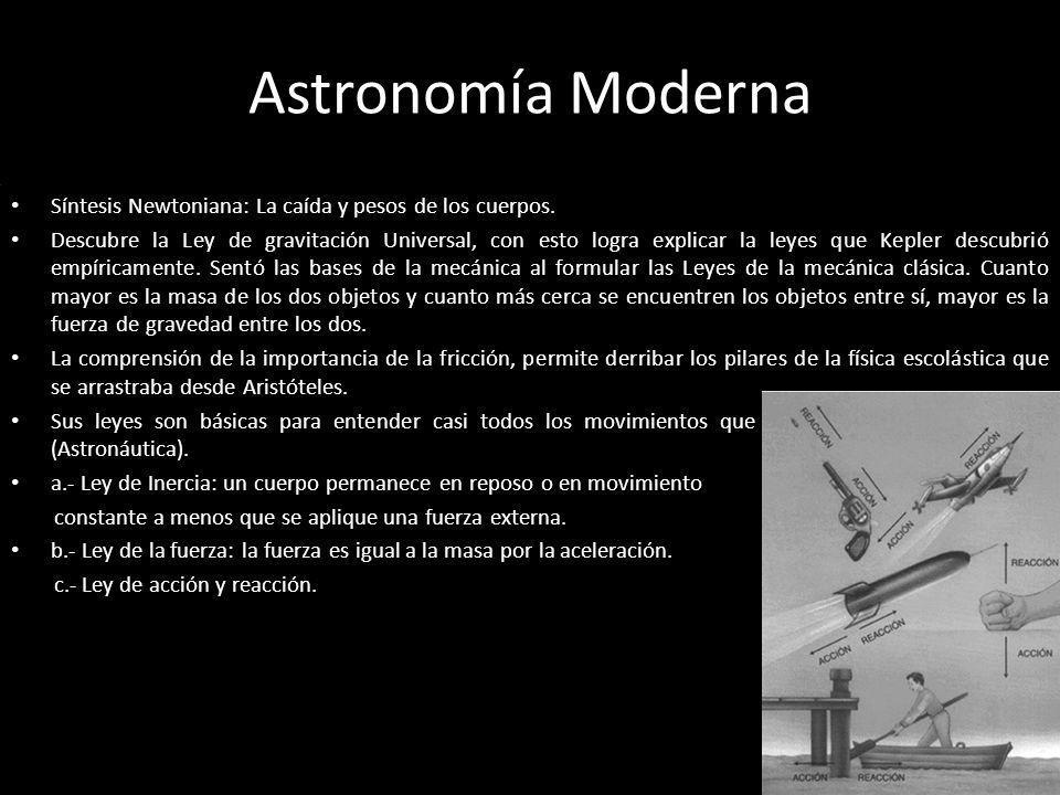 Astronomía Moderna Síntesis Newtoniana: La caída y pesos de los cuerpos. Descubre la Ley de gravitación Universal, con esto logra explicar la leyes qu