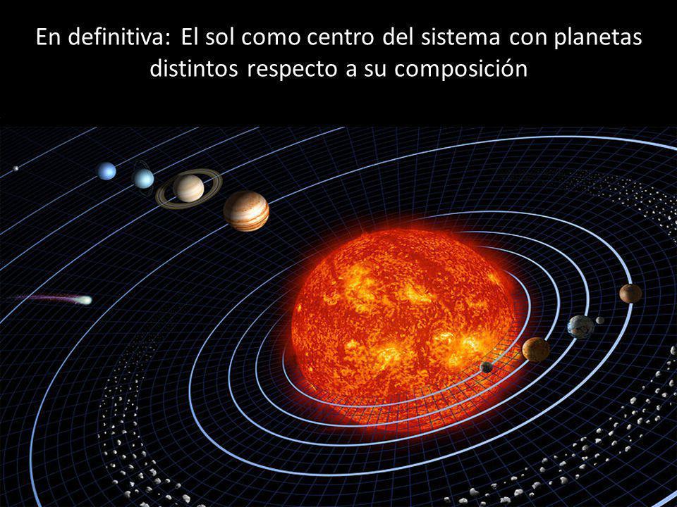 En definitiva: El sol como centro del sistema con planetas distintos respecto a su composición