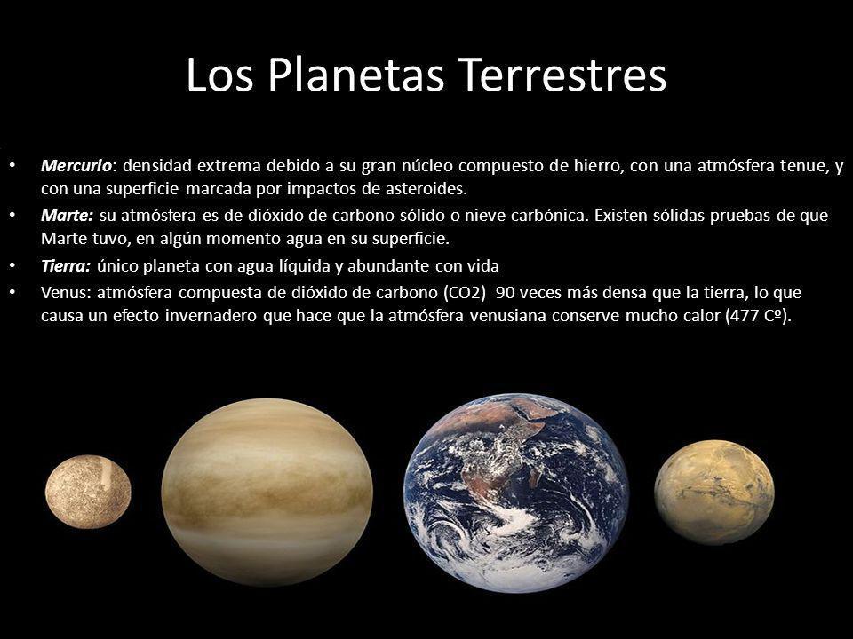 Los Planetas Terrestres Mercurio: densidad extrema debido a su gran núcleo compuesto de hierro, con una atmósfera tenue, y con una superficie marcada