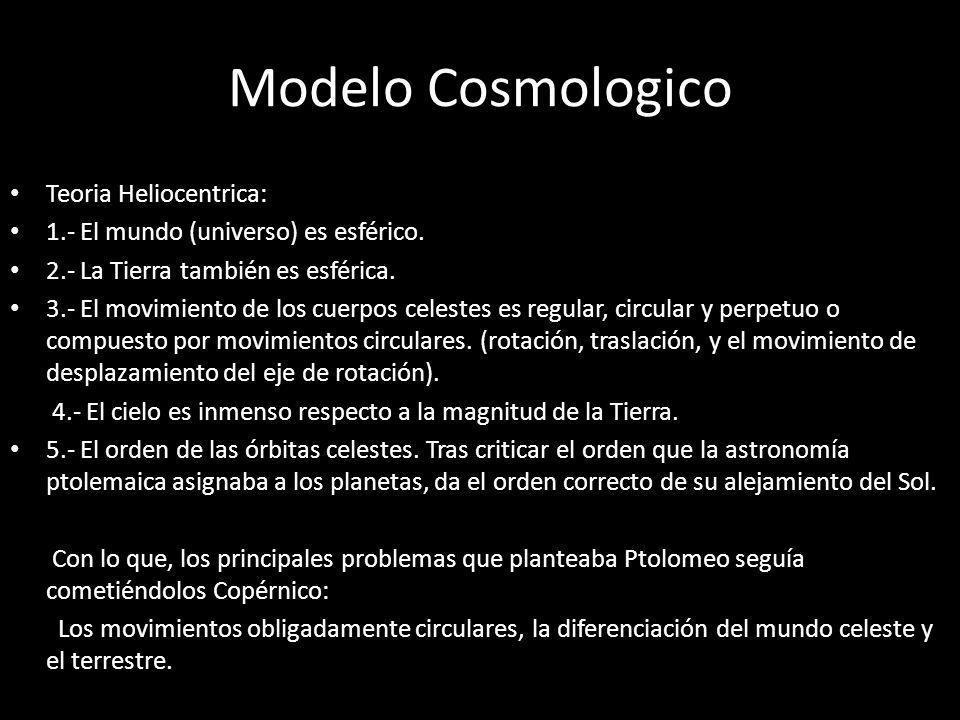 Modelo Cosmologico Teoria Heliocentrica: 1.- El mundo (universo) es esférico. 2.- La Tierra también es esférica. 3.- El movimiento de los cuerpos cele