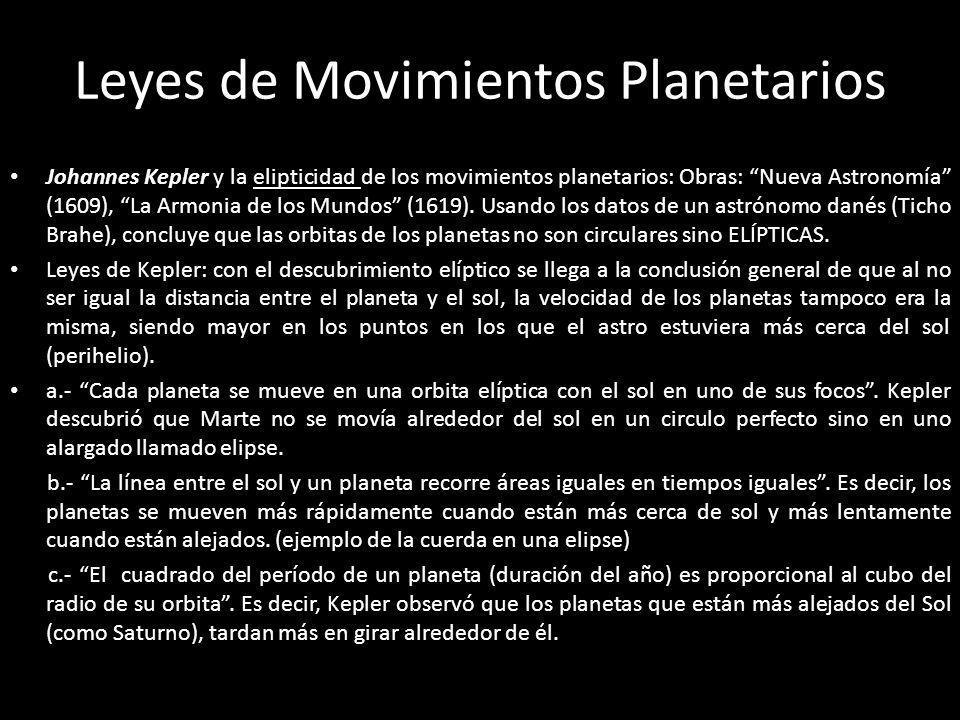 Leyes de Movimientos Planetarios Johannes Kepler y la elipticidad de los movimientos planetarios: Obras: Nueva Astronomía (1609), La Armonia de los Mu