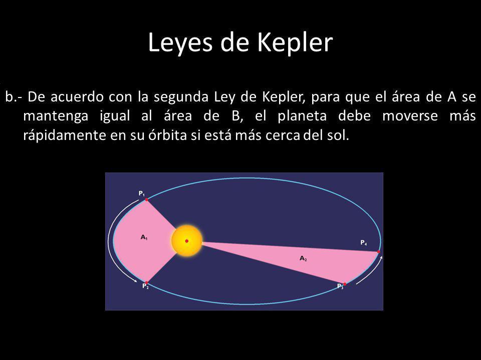 Leyes de Kepler b.- De acuerdo con la segunda Ley de Kepler, para que el área de A se mantenga igual al área de B, el planeta debe moverse más rápidam