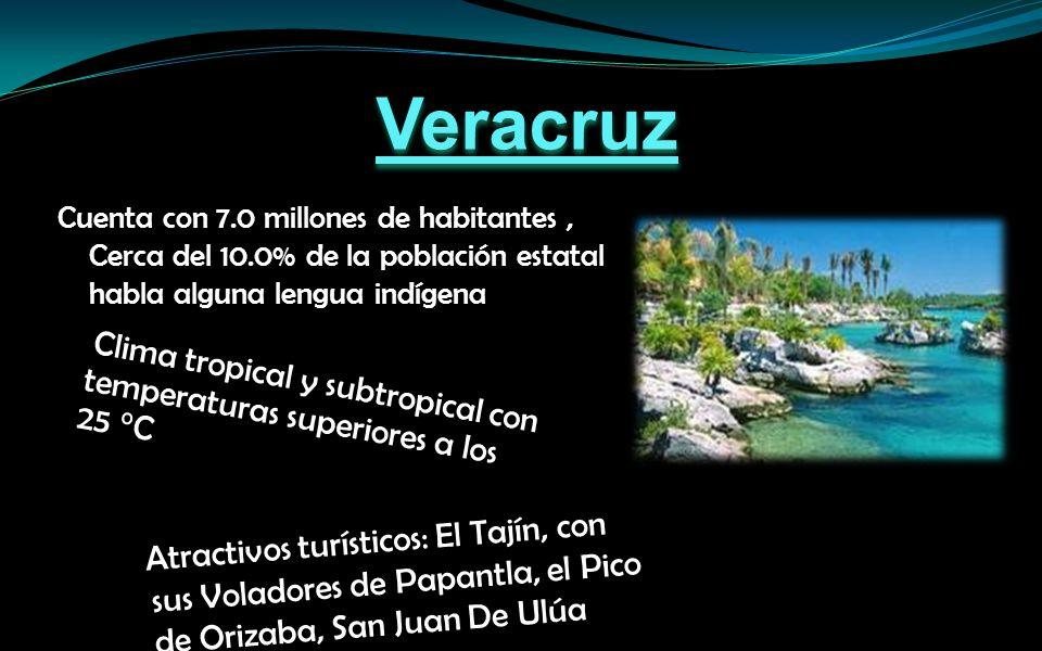 Atractivos turísticos: El Tajín, con sus Voladores de Papantla, el Pico de Orizaba, San Juan De Ulúa Clima tropical y subtropical con temperaturas superiores a los 25 °C Cuenta con 7.0 millones de habitantes, Cerca del 10.0% de la población estatal habla alguna lengua indígena