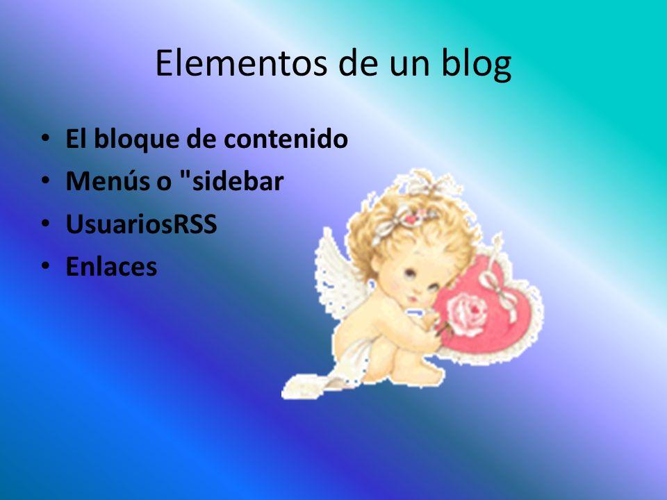 Elementos de un blog El bloque de contenido Menús o sidebar UsuariosRSS Enlaces