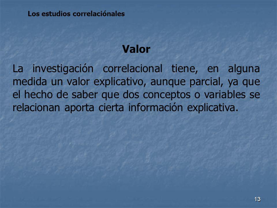 13 Los estudios correlaciónales Valor La investigación correlacional tiene, en alguna medida un valor explicativo, aunque parcial, ya que el hecho de