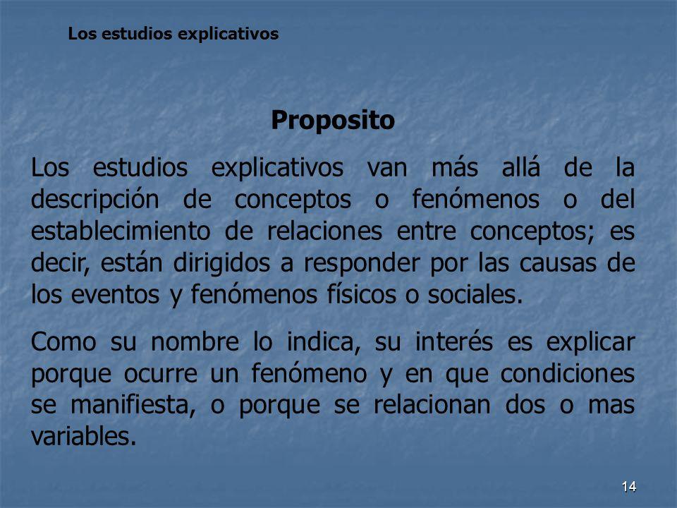 14 Los estudios explicativos Proposito Los estudios explicativos van más allá de la descripción de conceptos o fenómenos o del establecimiento de rela