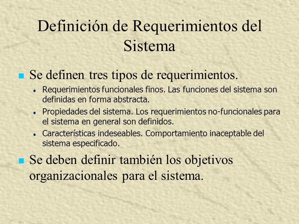 Definición de Requerimientos del Sistema Se definen tres tipos de requerimientos. l l Requerimientos funcionales finos. Las funciones del sistema son