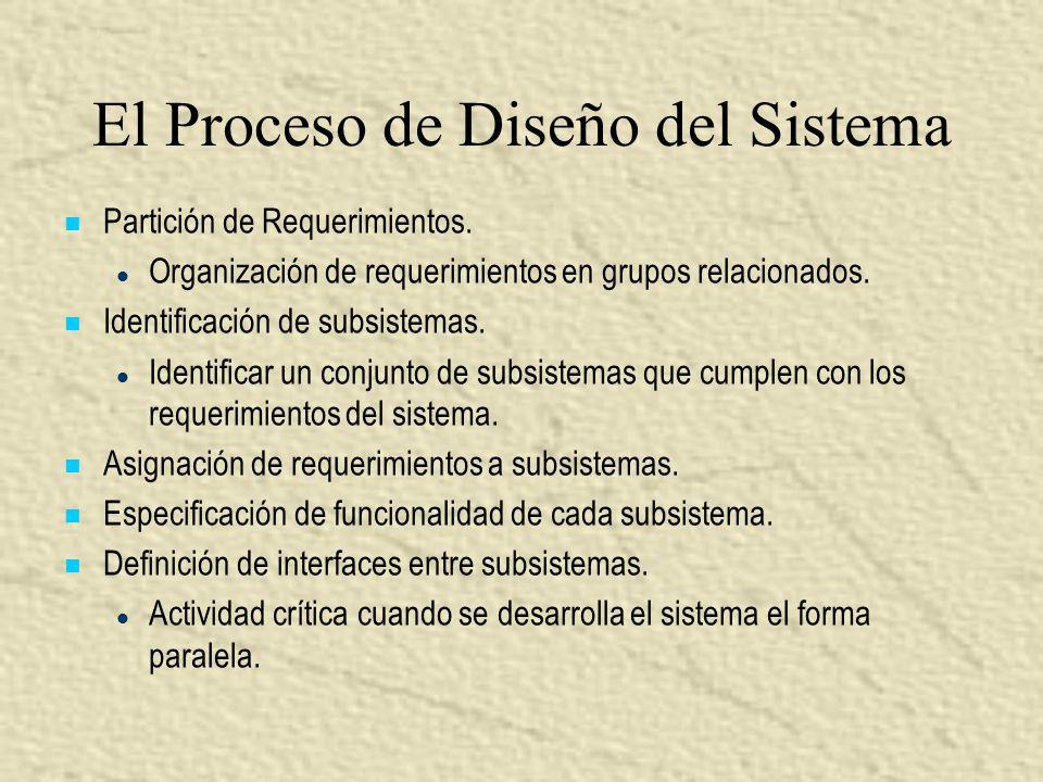 El Proceso de Diseño del Sistema Partición de Requerimientos. l l Organización de requerimientos en grupos relacionados. Identificación de subsistemas