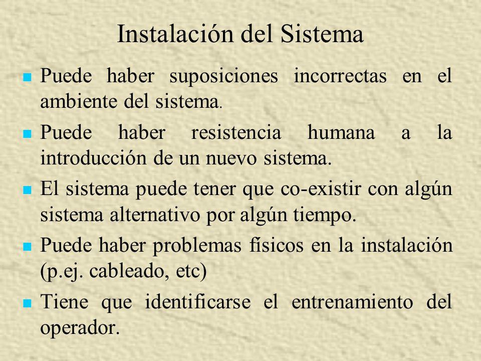 Instalación del Sistema Puede haber suposiciones incorrectas en el ambiente del sistema. Puede haber resistencia humana a la introducción de un nuevo