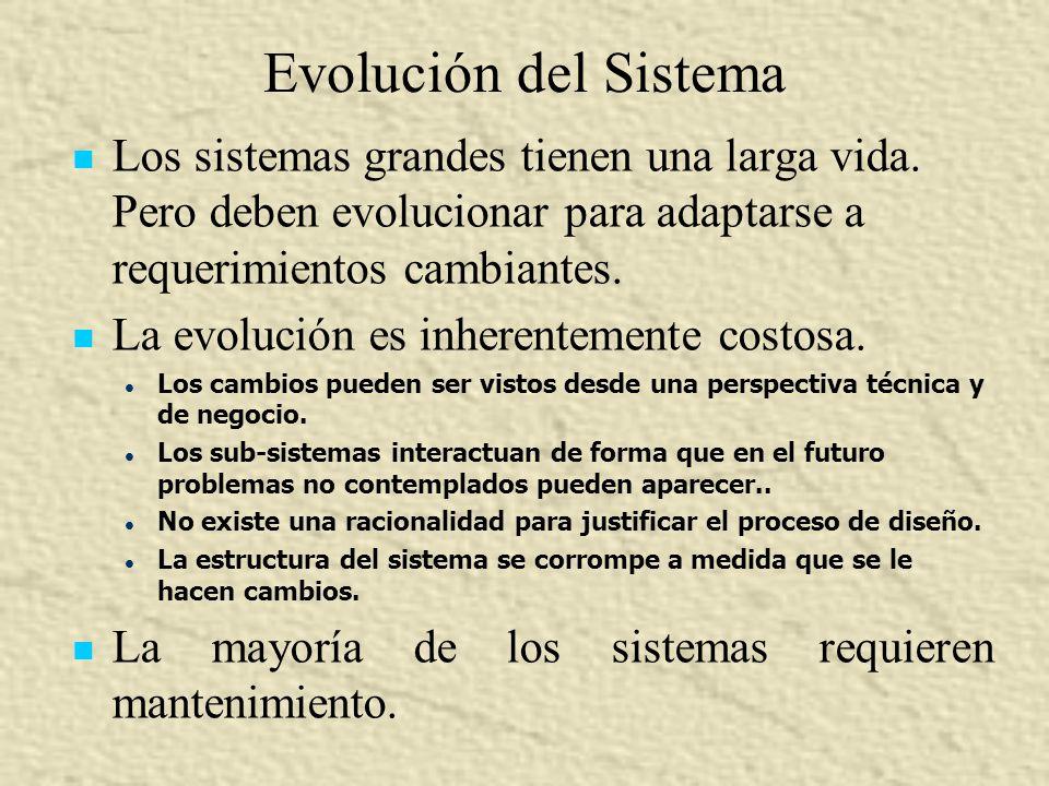 Evolución del Sistema Los sistemas grandes tienen una larga vida. Pero deben evolucionar para adaptarse a requerimientos cambiantes. La evolución es i