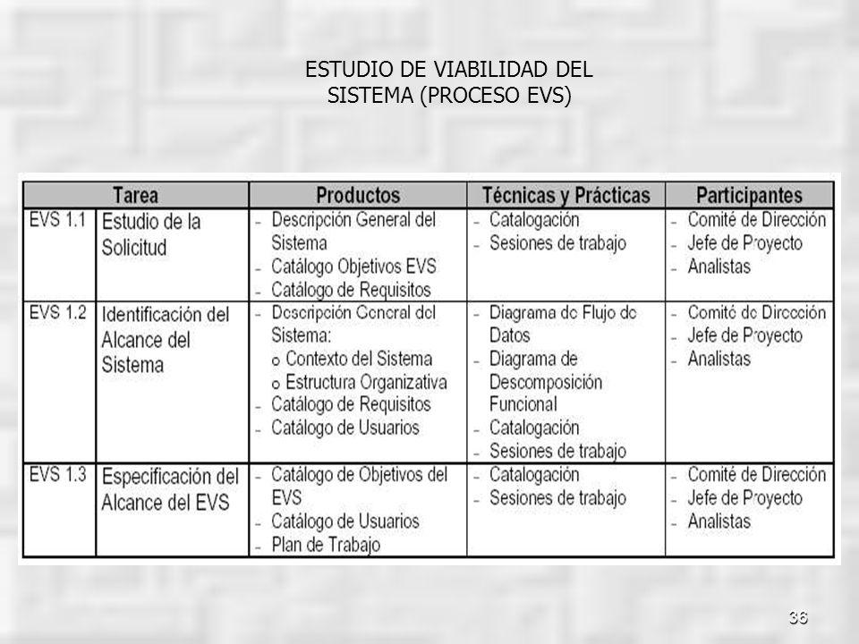 36 ESTUDIO DE VIABILIDAD DEL SISTEMA (PROCESO EVS)