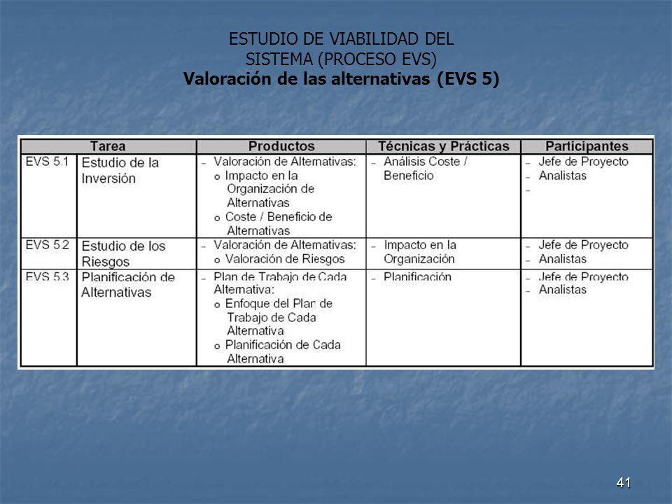 41 ESTUDIO DE VIABILIDAD DEL SISTEMA (PROCESO EVS) Valoración de las alternativas (EVS 5)