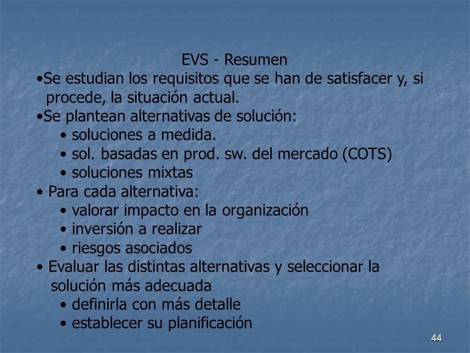 44 EVS - Resumen Se estudian los requisitos que se han de satisfacer y, si procede, la situación actual. Se plantean alternativas de solución: solucio